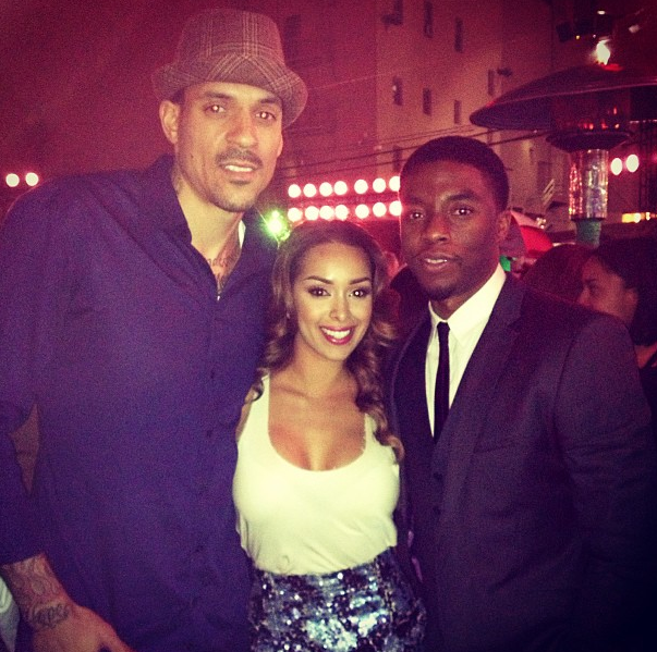 Matt Barnes and wife Gloria Govan with 42 star, Chadwick Boseman, aka Jackie Robinson at the red carpet premiere!