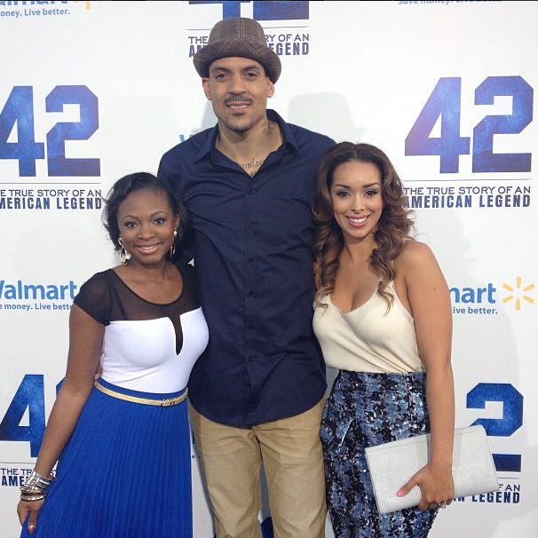 Matt Barnes, Gloria Govan, and Naturi Naughton on the red carpet of 42 premiere last night in Hollywood.