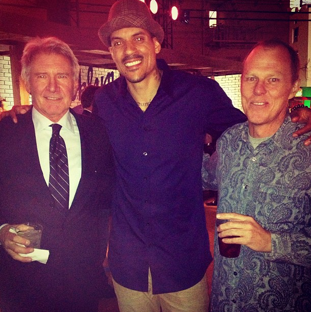 Matt Barnes with Harrison Ford and 42 Director Brian Helgeland on the red carpet premiere in Hollywood Tuesday.